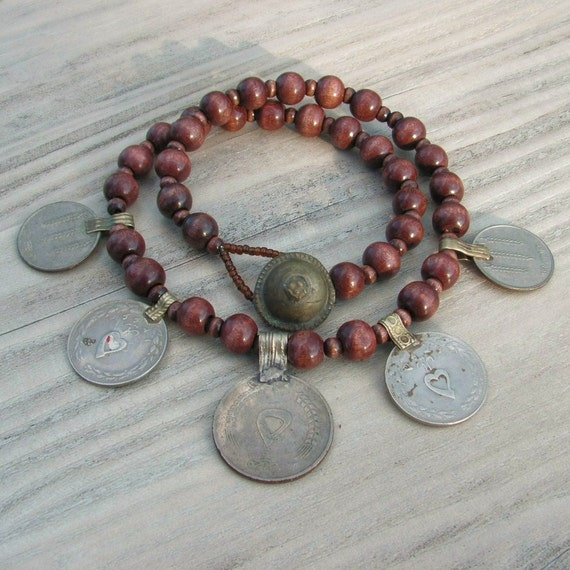The Dancing Gypsy - Coin Necklace in Dark Brown Wood with Vintage Tribal Metalwork