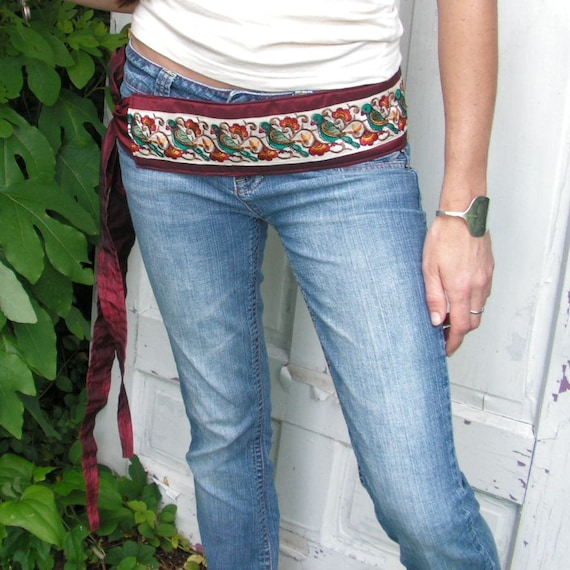 Silk Road Belt - Ruby Red Silk with White embroidered Bird Ribbon