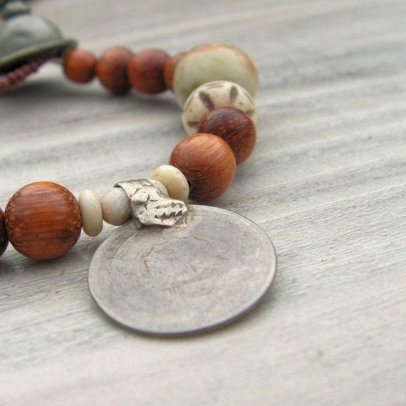 Gypsy Mala Bracelet -  Wood with Jade, Bone and Kuchi Metalwork