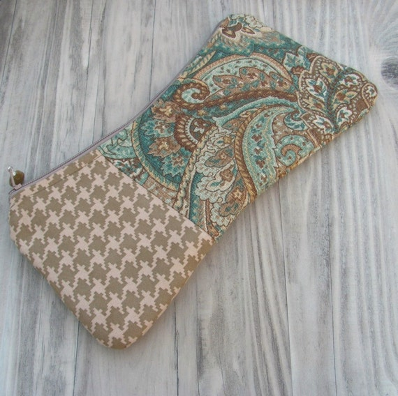 Paisley Clutch Purse,  Cosmetic Bag, Patchwork, Bohemian Pouch, Turquoise