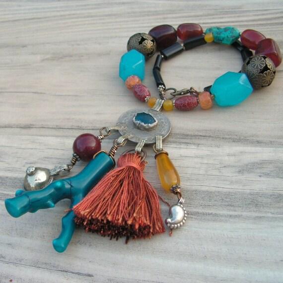 Gypsy Caravan Necklace - Gemstones and Gypsy Treasures