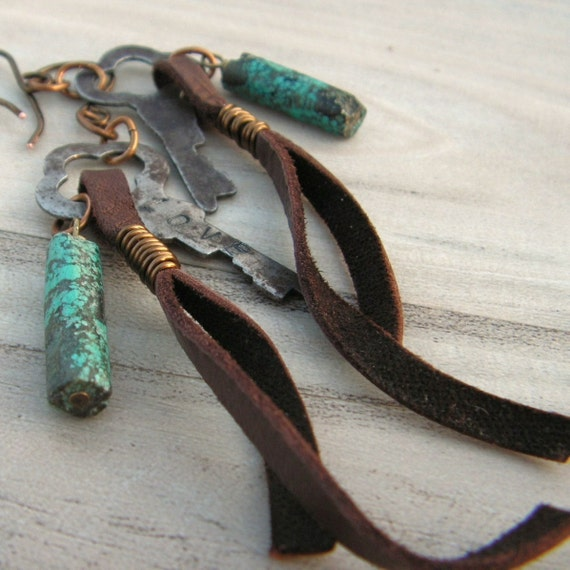 Skeleton Key Earrings with Leather and Turquoise - LOVE