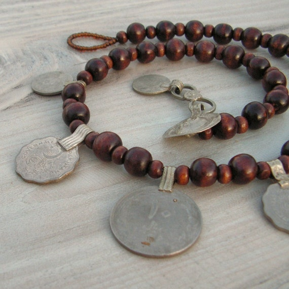 The Dancing Gypsy Coin  Necklace - Dark Brown Wood with Vintage Tribal Metalwork