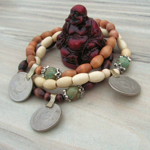 Gypsy Mala Coin Stretch Bracelets- 3 Piece Set in Mixed Woods with Tribal Metalwork and Turquoise Magnesite