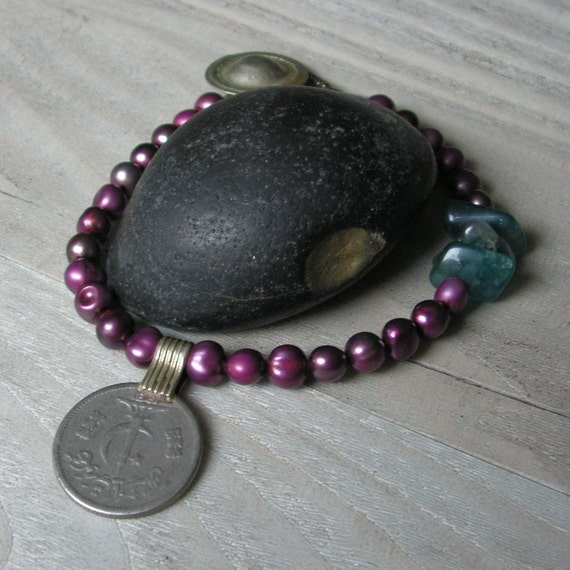 Pearl Gypsy Mala Luxe - Burgundy Pearls with Gypsy Metalwork and Blue Flourite