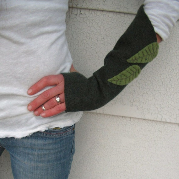 Fingerless Arm Warmers, Leaves,  Felted Wool Gloves, Handmade Fingerless Gloves,  Eco Friendly