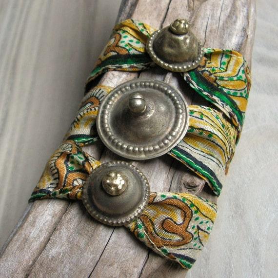 Silk Wrap Bracelet, Indian Silk, Repurposed, Bohemian, Adjustable Bracelet, Gold and Green