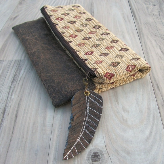 Carpet Roll Clutch - Fold Over Bag in Southwest Tribal with Vegan Leather Base