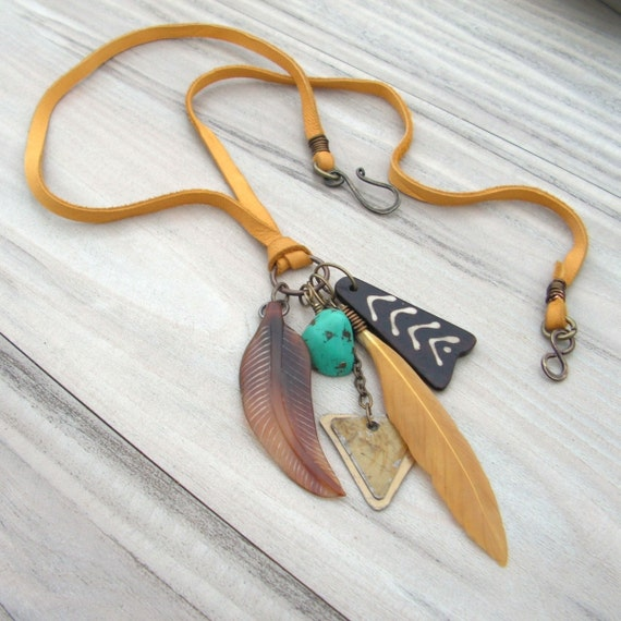Native Charm Necklace on Deerskin Lace with Feather, Chevron and Triangle Charms