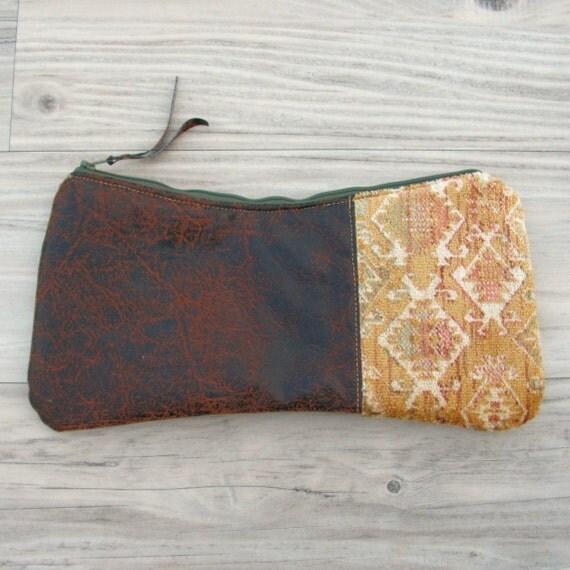 SqueezE Clutch Handbag - Navajo Velvet and Vegan Leather