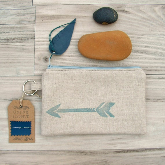 Arrow Stash Bag  with Leather Feather Zipper Pull - Slate Blue