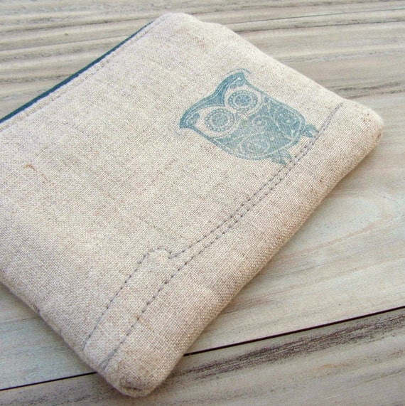 Owl Zipper Pouch - Hand Printed Owl on Linen in Slate Blue