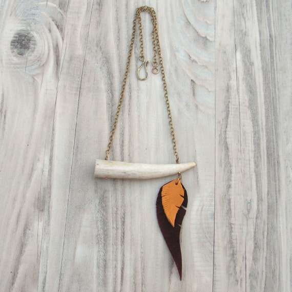 Antler Tip Necklace with Leather Feathers - Cruelty Free on Brass Chain