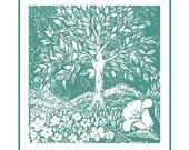 Turguoise Whimsical Tree Art Print(personalized option)
