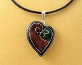 Black\/Copper\/Green Faux Cloisonne Heart Pendant