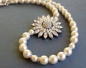 Free Shipping // Bridal Wedding Necklace With Star Flower And Swarovski Pearls