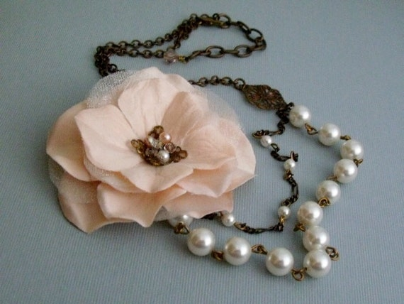Pink Flower Necklace, Wedding Style With Swarivski White Pearls
