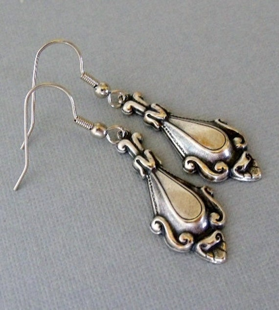 silver spoon earrings dangling spoon earrings earrings