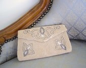 50s Champagne and SILVER BEADED Clutch Purse