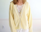 Sunshine Stripe Vintage Slouchy White and Yellow V Neck Cardigan M/L
