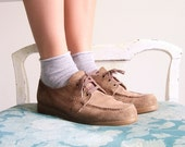 Mushroom Suede Vintage 70s Brown Leather Lace Up Oxfords 6 6.5