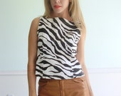 Zebra Stripe Vintage 90s Sleeveless Animal Printed Tank Blouse SMALL