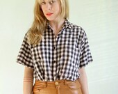 30% OFF SALE Checks and Balances Vintage 80s Plaid Gingham Button Down Blouse Shirt M/L