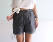 Stormy Weather 80s Dark Grey Genuine Leather High Waist PLEAT Front Shorts S/M