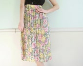 Floral Sheered Vintage 80s 90s Semi Sheer Pleated Long Maxi Skirt XL XXL