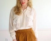 Embroidered Cream Silk Blouse Vintage Early 90s Button Down Shirt LARGE L Petite P