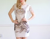 Hunting Coon Vintage Reconstructed Graphic Print Mini Body Con Dress XS/S