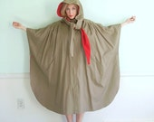 Vintage 60s 70s Reversible Hooded Rain Cape Coat Jacket in Retro Tan and Red OSFM