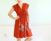 Rusted Rose Vintage 70s SS Floral Print Mini Wrap Front Dress S/M