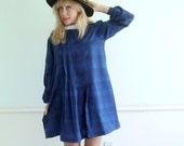 Plaid Long Sleeve Mini Dress Vintage 80s Navy Blue Tent - Bow Collar LARGE L
