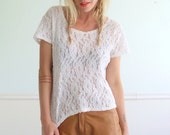 White Lace Vintage 90s Short Sleeve Crop Top Blouse Shirt MEDIUM Petite