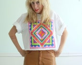 Neon Tribal Vintage 80s Short Sleeve Crop Tee Shirt LARGE L - Graphic