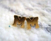 M Initial Stud Earrings Vintage 80s Gold Tone Monogram Personalized