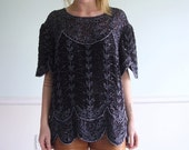 City Shine Vintage 80s 90s Short Sleeve Beaded SILK Evening Blouse with Scalloped Edges L/XL