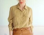 Militant Silk Vintage LS Silk Button Down Shirt with Dual Chest Pockets, Almond Brown S/M