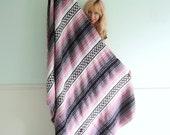 Vintage Mexican Blanket Southwestern Stripe - Pink Black White TWIN