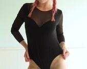 Black Mesh Bodysuit One Piece - Sheer - Vintage 70s - XS S