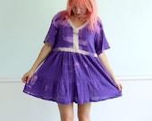 Bright Purple Tie Dye Mini Boho Babydoll Dress Vintage 90s MEDIUM M Petite