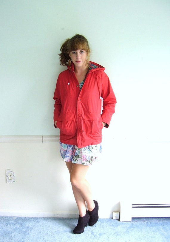 20% off . . . Red Delicious 80s Bright Hooded Flannel Lined Rain Jacket XS/S