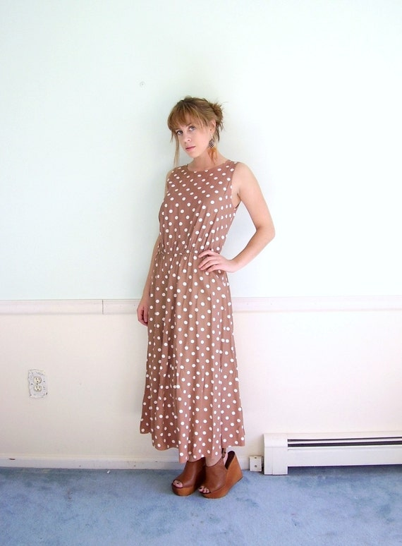 Cinnaginger 80s Sleeveless Brown POLKA DOT Printed Maxi Dress S/M