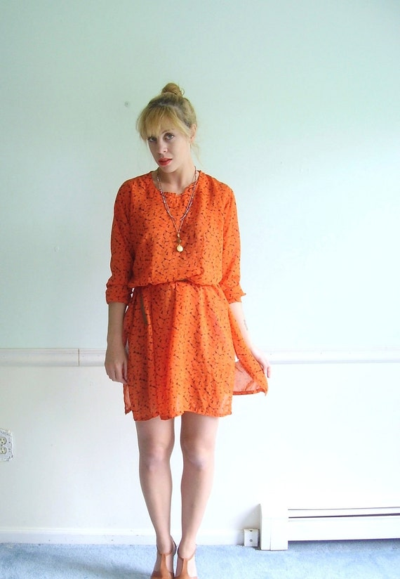 Painted Poppy Vintage 70s Bright Orange Floral Printed Ethnic Mini Dress Tunic M/L