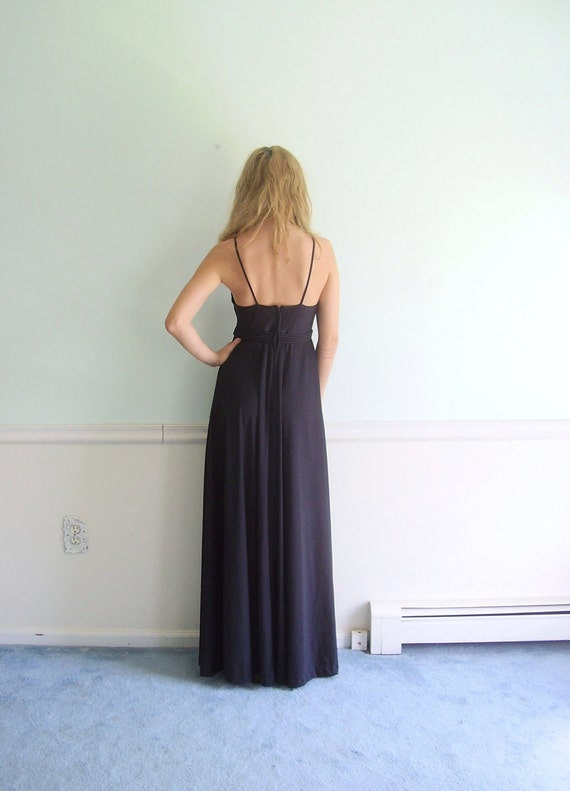 Nacht Bloom Vintage 70s Black Sleeveless Maxi Dress with Rose Ties SMALL S
