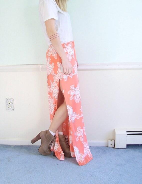 ON SALE Sherbert Floral Vintage 70s High Waisted Pink Printed Maxi Skirt LARGE L
