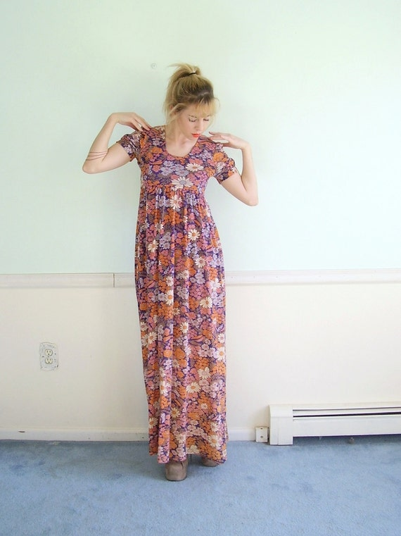 Groovy Bloom Vintage 60s SS Empire Waist Floral Printed Bohemian Maxi Dress XS S