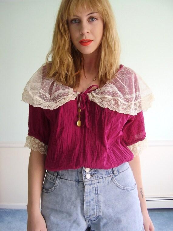 Boho Rose Vintage 80s Lace Trimmed Deep Pink Gauze Crop Blouse MEDIUM