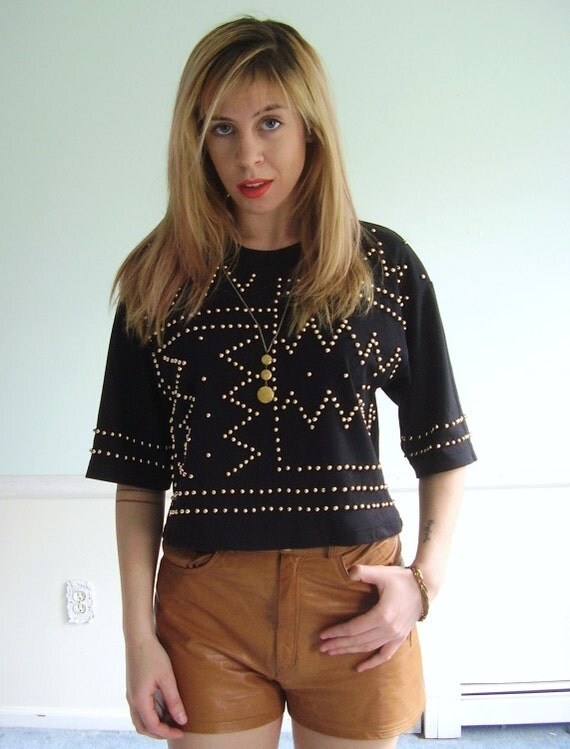 Studded Vintage 80s SS Jet Black Crop Tee Shirt Top S/M